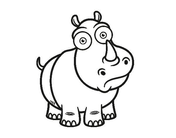 Dibujo de Rinoceronte blanco para Colorear