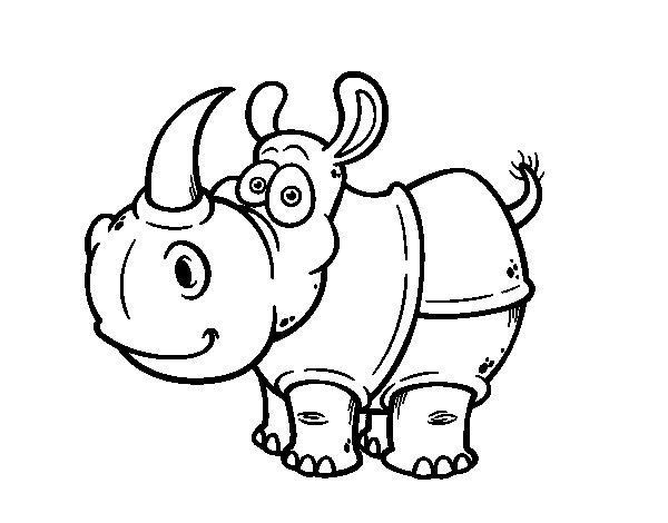 Dibujo de Rinoceronte de Java para Colorear