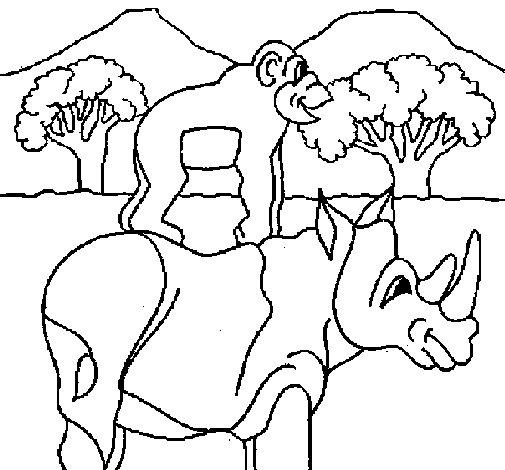 Dibujo de Rinoceronte y mono para Colorear