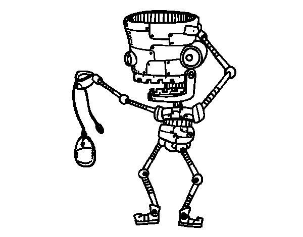 Dibujo de Robot con un ratón para Colorear