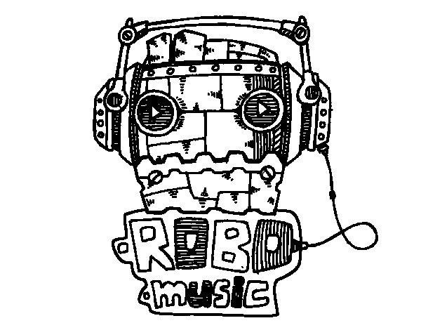 Dibujo de Robot music para Colorear