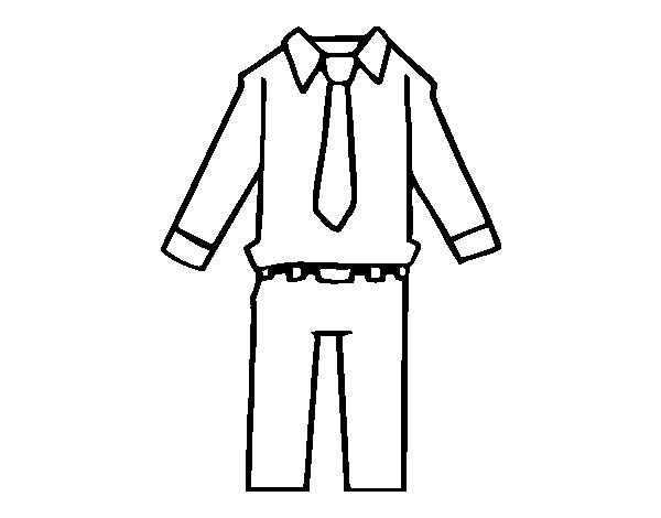 Colorear Dibujo Pantalón En Línea: Dibujo De Ropa De Hombre Para Colorear