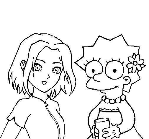 Dibujo de Sakura y Lisa para Colorear