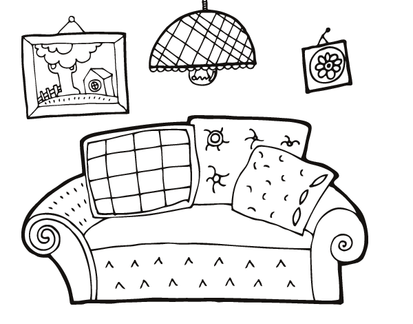 Dibujo de sal n para colorear for Como e living room em portugues