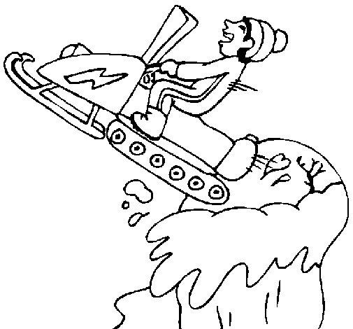 Dibujo de Salto con moto de nieve para Colorear