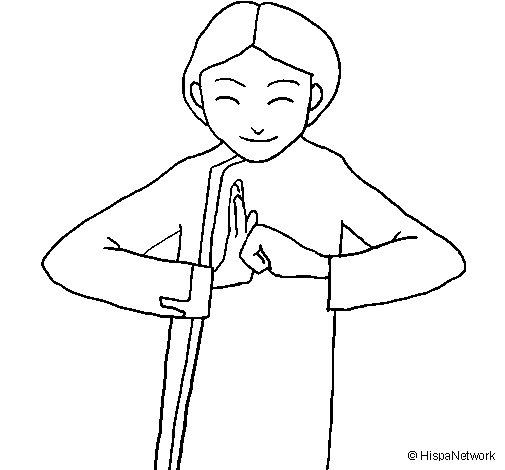 Dibujo de Saludo chino II para Colorear