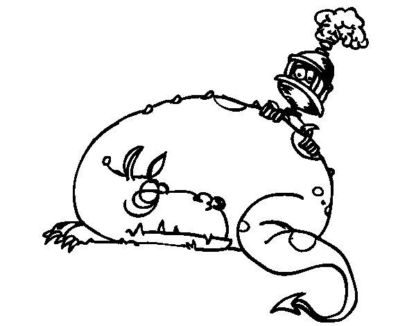 Dibujo de San Jorge y el dragón para Colorear