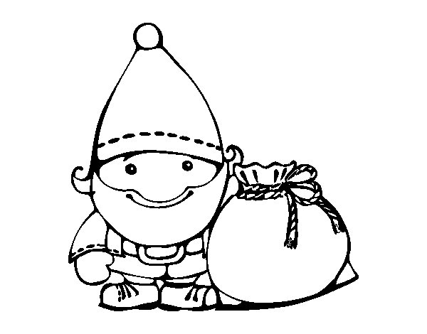 Dibujo de Santa Claus con su saco para Colorear