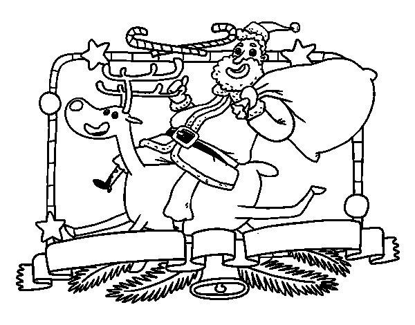 Dibujo de Santa Claus y reno de Navidad para Colorear