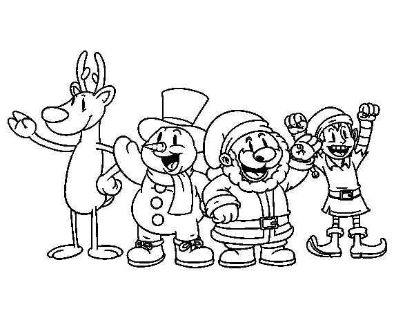 Dibujo de Santa Claus y sus amigos para Colorear