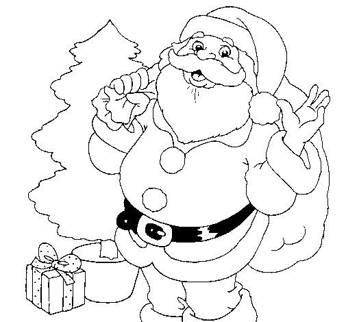Dibujo de Santa Claus y un árbol de navidad para Colorear