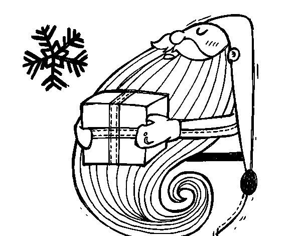 Dibujo de Santa con regalo para Colorear