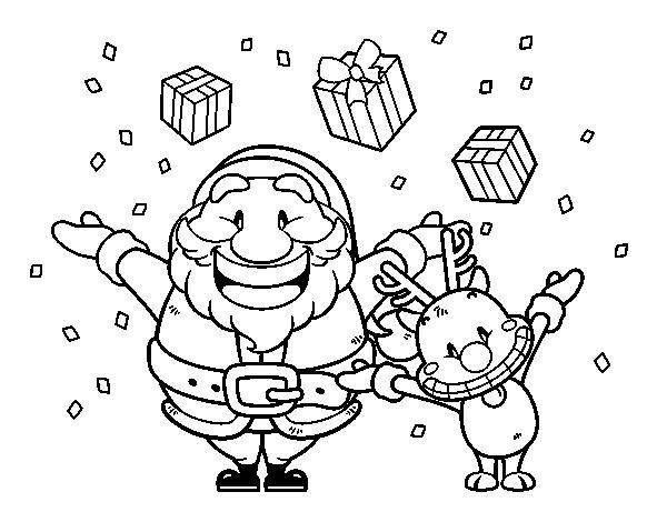 Dibujo de santa y reno con regalos para colorear - Dibujos para pintar navidad ...