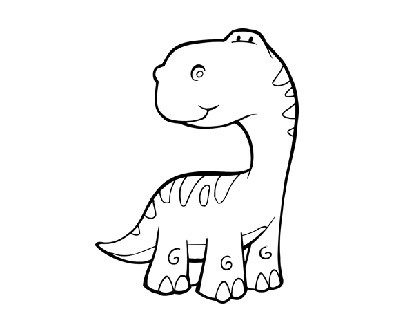 58 Dinosaurios Para Colorear Y Pintar Descargar E: Dibujo De Saurópodo Para Colorear