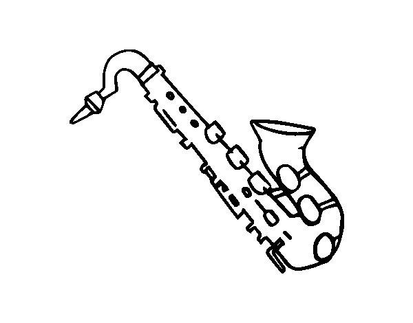 Dibujo de Saxofón tenor para Colorear