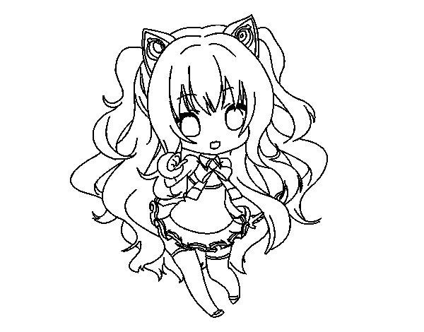 Dibujo de SeeU Chibi Vocaloid para Colorear
