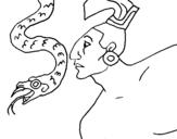Dibujo de Serpiente y guerrero para colorear