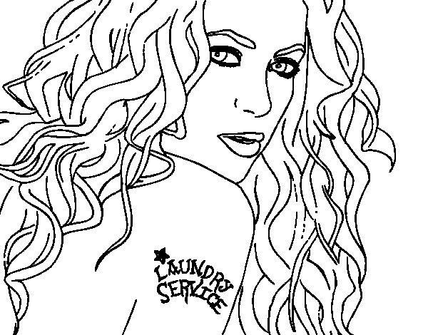 Dibujo de Shakira - Servicio de lavandería para Colorear