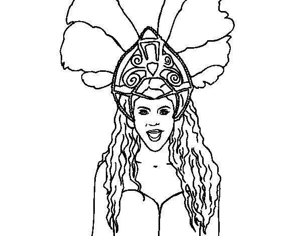 Dibujo de Shakira - Waka Waka para Colorear