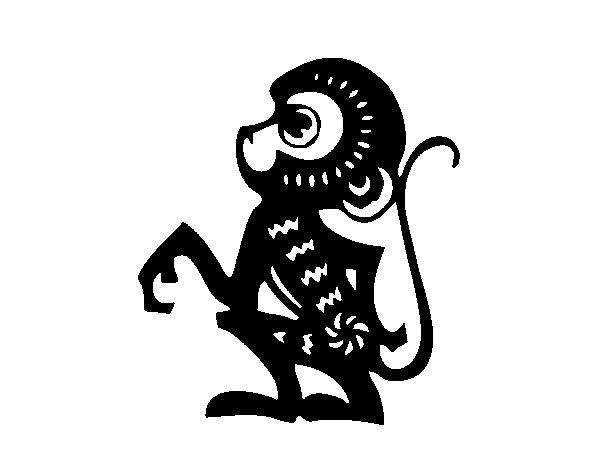Dibujo de Signo del mono para Colorear