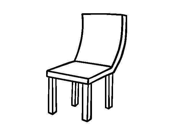 Dibujo de silla curva para colorear for Sillas para dibujar facil