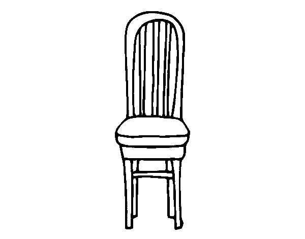 Dibujo de silla de madera para colorear for Sillas para dibujar