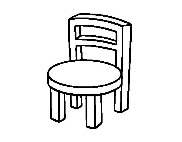 Dibujo de silla redonda para colorear for Sillas para dibujar facil