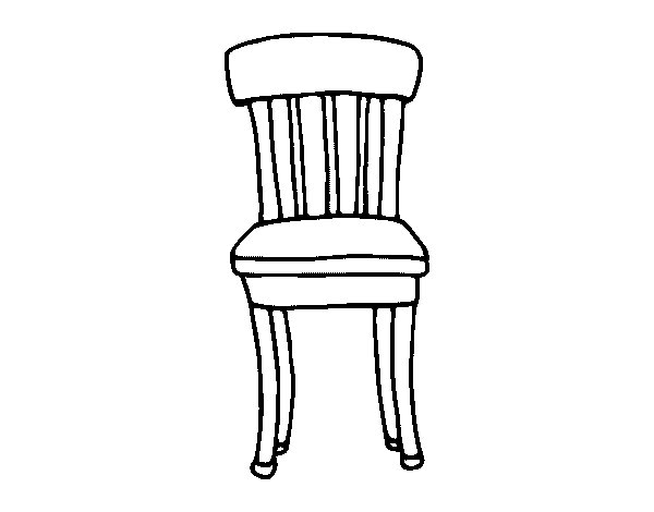 Dibujo de silla r stica para colorear for Sillas para dibujar