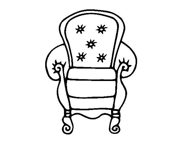 Dibujo de sill n cl sico para colorear for Sillas para imprimir