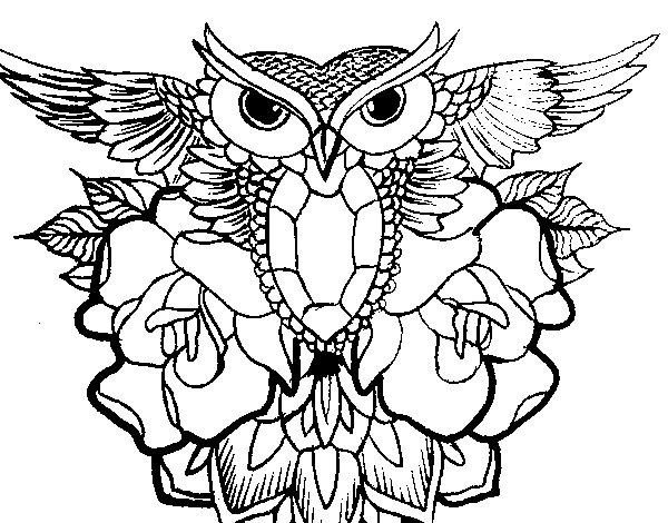 Dibujos De Buhos Para Imprimir Y Colorear: Dibujo De Símbolo Búho Para Colorear