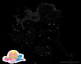 Dibujo de Sirena con corona para colorear