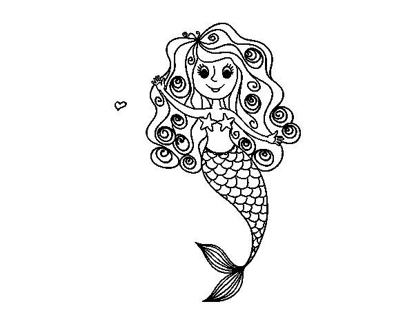 Dibujos De Sirenas Para Colorear Pintar E Imprimir: Dibujo De Sirena Con Rizos Para Colorear
