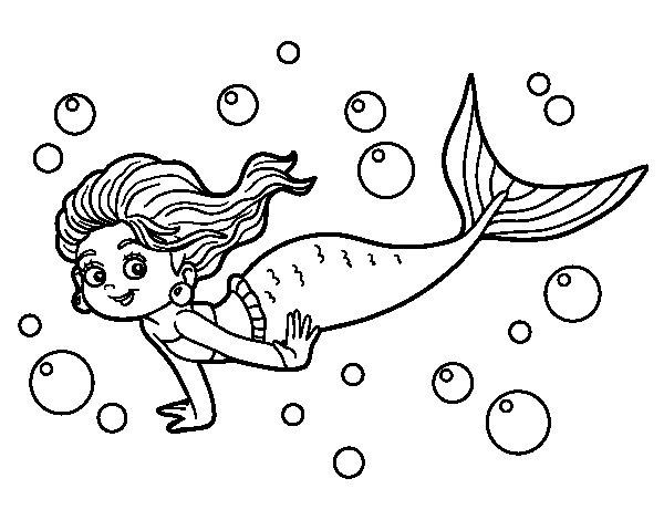 Dibujo de Sirena del mar para Colorear