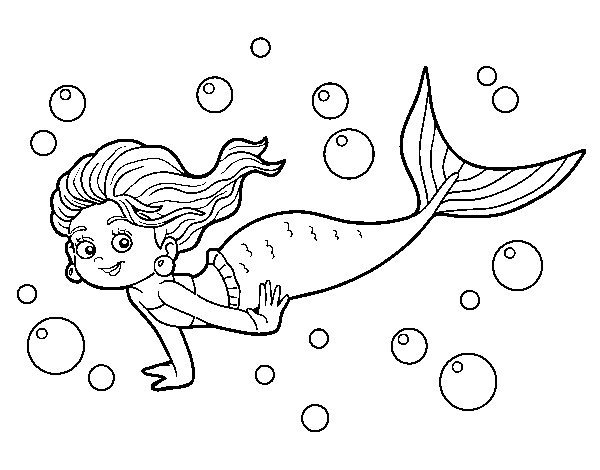 Dibujos Para Colorear E Imprimir De Sirenas: Dibujo De Sirena Del Mar Para Colorear