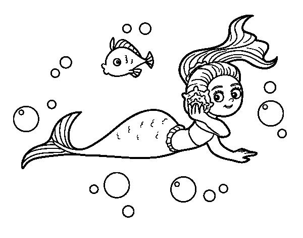 Dibujos De Sirenas Para Colorear Pintar E Imprimir: Dibujo De Sirena Mágica Para Colorear