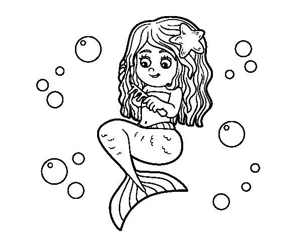 Dibujos De Sirenas Para Colorear Pintar E Imprimir: Dibujo De Sirena Peinándose Para Colorear