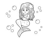 Dibujo de Sirena peinándose para colorear