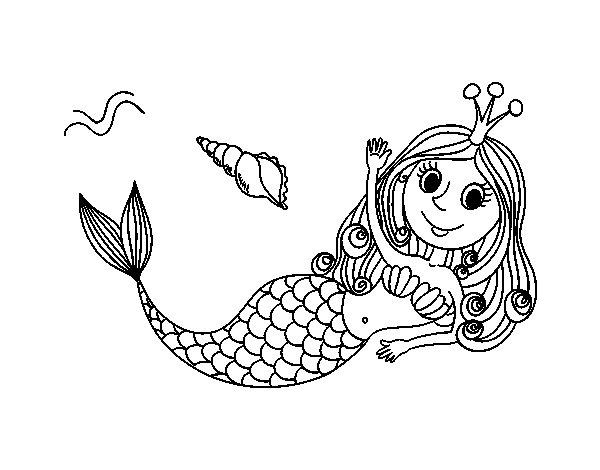 Dibujo de Sirena saludando para Colorear