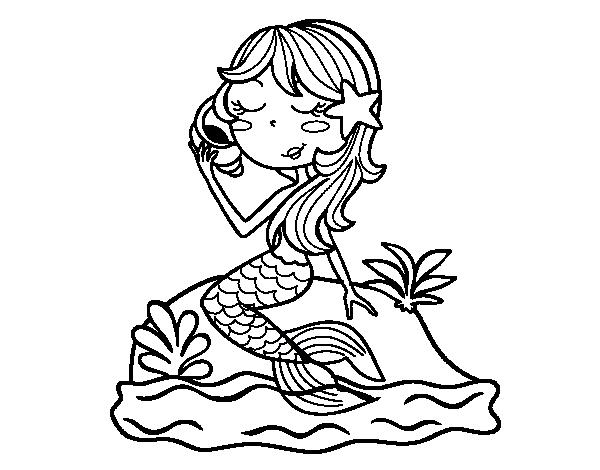 Dibujo de Sirena sentada en una roca con una caracola para ...