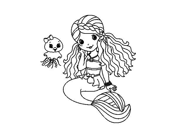 Dibujos De Sirenas Para Colorear Pintar E Imprimir: Dibujo De Sirena Y Medusa Para Colorear