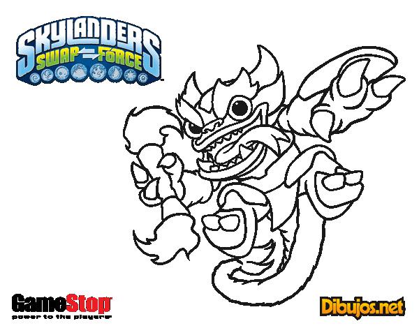 Dibujos De Fre Fire Para Pintar: Dibujo De Skylanders Swap Force Fire Kraken Para Colorear