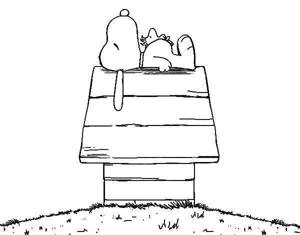 Dibujo de Snoopy durmiendo para Colorear