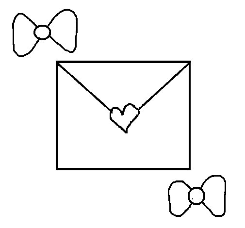 Dibujo de Sobre con corazones para Colorear