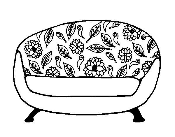 dibujo de sof vintage para colorear