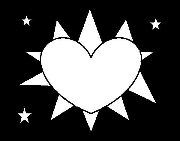 Dibujo de Sol en forma de corazón para Colorear