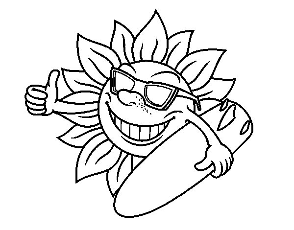 Dibujo de Sol Surfero para Colorear
