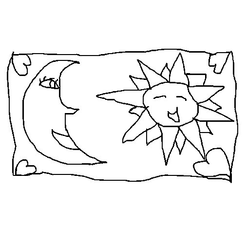 Dibujo de Sol y luna 2 para Colorear