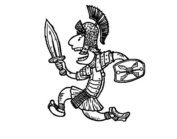 Dibujo de Soldado romano atacando para Colorear