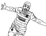 Dibujo de Suárez celebrando un gol