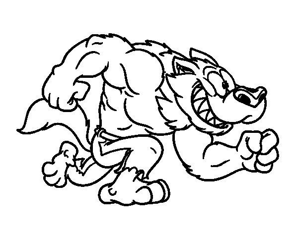 Dibujo de Súper hombre lobo para Colorear